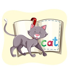 Gray cat and a book vector image
