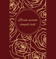 greeting card with beige outline roses vector image