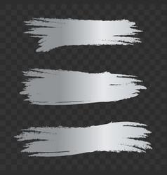 grey silver textured brush strokes set vector image