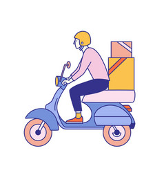 guy in helmet riding scooter with carton boxes vector image