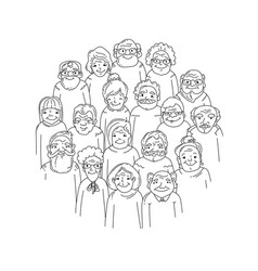 hand drawn old people vector image