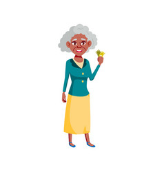 Happy african woman senior holding tickets vector