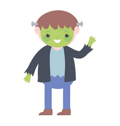happy halloween boy monster costume cartoon vector image