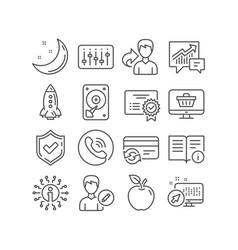 Hdd change card and certificate icons technical vector