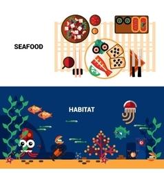 Horizontal Seafood Banners Set vector image