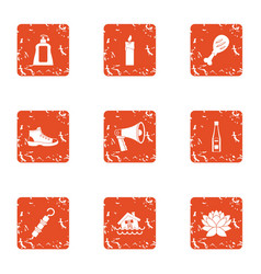 Household thing icons set grunge style vector