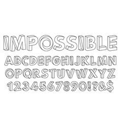 Impossible shapes font paradox alphabet letters vector