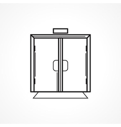 Indoors glass door black line icon vector