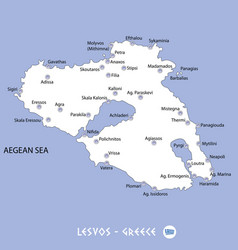 Island of lesvos in greece white map and blue vector