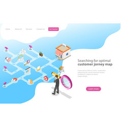 isometric flat landing page for serching vector image