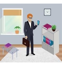 Isometric Man Office Work Interior Design vector