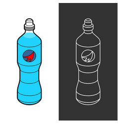 isotonic sport drink bottle blue liquid for vector image