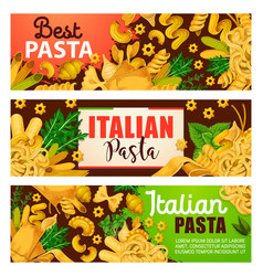 Italian pasta pastry food and greenery vector