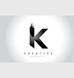 k letter design with brush stroke and modern 3d vector image
