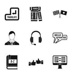 Language learning icons set simple style vector image