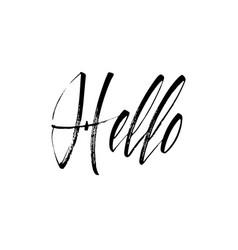 Lettering hello wrote brush hello calligraphy vector
