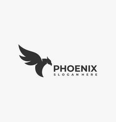 Logo fly phoenix silhouette style vector