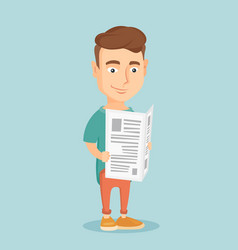 Man reading newspaper vector
