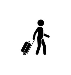 man with a suitcase icon traveler icon vector image