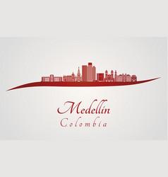 Medellin skyline in red vector