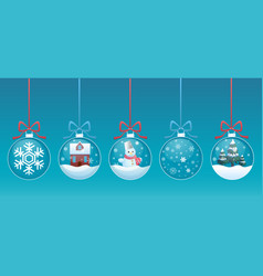 merry christmas glass ball with toys inside set vector image