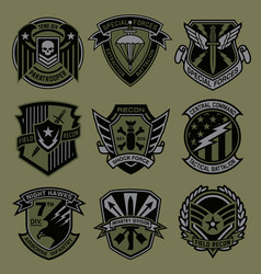 Military patch emblem badge set in army green vector