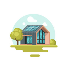 modern eco-friendly house with solar panel on roof vector image