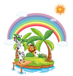 Paradise island with animals vector image