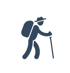 Person with backpack and stick walking hiking vector