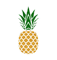 Pineapple golden with green leaf tropical gold vector