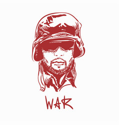 Portrait young army soldier man wearing glasses vector