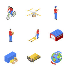 postal delivery icons set isometric style vector image