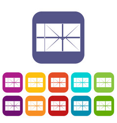 Postal parcel icons set flat vector