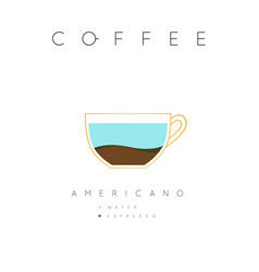 poster coffee americano white vector image