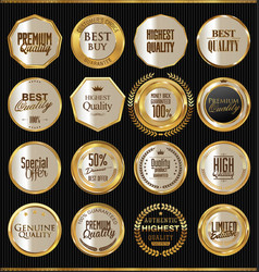 premium quality golden badges collection vector image