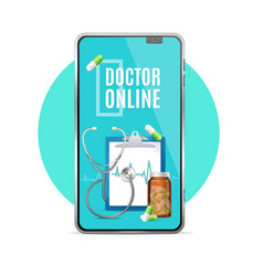 realistic 3d detailed doctor online app concept vector image