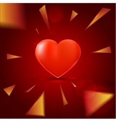 Red background with heart and shining elements vector image