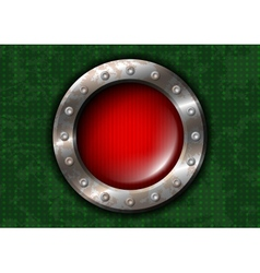 Red round lamp with metal frame and rivets vector image