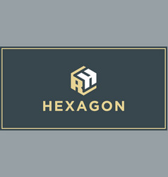 rh hexagon logo design inspiration vector image