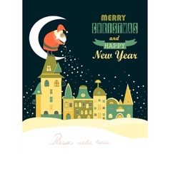 santa claus spreads snowflakes over night vector image