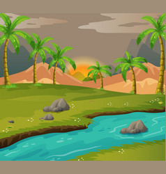 scene with coconut trees along the river vector image