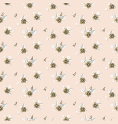 Seamless pale pink flower pattern vector