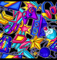 seamless pattern with gaming items cyber sports vector image