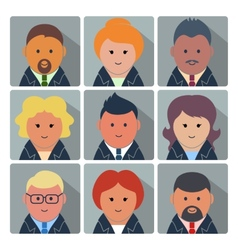 Set of avatar icons with business people vector image
