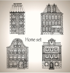 Set of retro house vector image