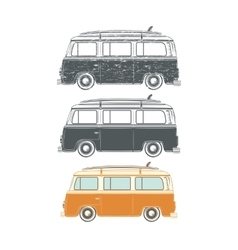 Set of Retro vintage travel camper vans vector
