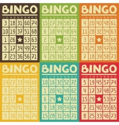 Set retro bingo or lottery cards for game vector