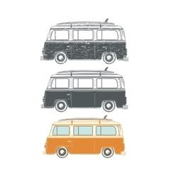 set retro vintage travel camper vans vector image