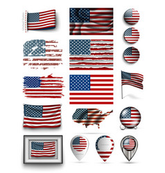 set usa flags american collection isolated vector image