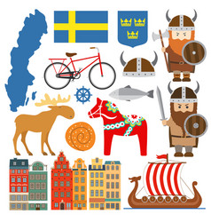 set with design elements symbols sweden and vector image
